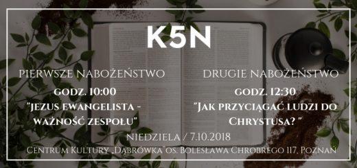 Informacja o nabożeństwie Kościoła K5N w Poznaniu 7.10..2018
