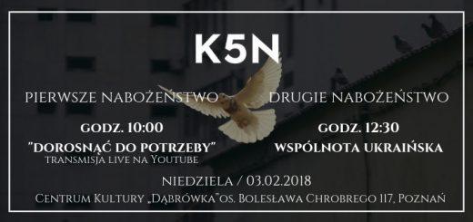 Informacja o nabożeństwie Kościoła 5N w niedzielę 3 lutego 2019